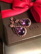 Olga Ribler Zurich Swiss Rose Gold Vermeil Amethyst Drop Dangle Earrings Purple