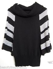 Cowl neck striped batwing sleeve knit fashion sweater (S/M)