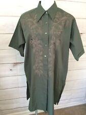 Dries Van Noten Small Shirt Dress Dark Green Embroidered Oversized Casual.