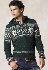 Ralph Lauren Rugby Green Fair Isle Christmas VTG Sweater Shetland Hoodie RRL Med