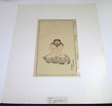 Original Antique 1880 Japanese Edo Period Master Painters Woodcut Art Print EXC+