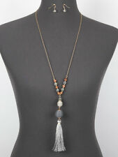 Gray Thread Ball FASHION Tassel Necklace Set