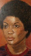 Vintage Black Americana woman with afro acrylic on board signed by Ferguson 1976