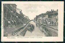 Milano Città Naviglio Grande Porta Ticinese Barche cartolina KF2596