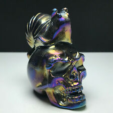 170gNatural Stone.Electroplating Process. Hand-carved. Skull And Snail Sculpture