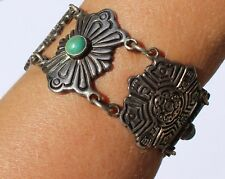 TAXCO Mexican 980 Sterling Silver Turquoise Large Chunky Link Bracelet Crca 1940