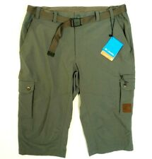Columbia Sportswear Green 3/4 Length Stretch Cargo Pants With Belt Men's L Nwt