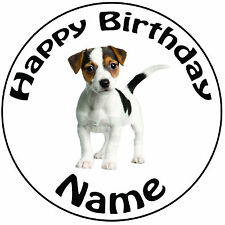 "Personalised Birthday Dog - Jack Russell Round 8"" Easy Precut Icing Cake Topper"