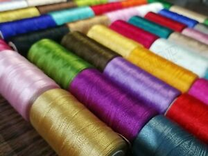 50 Large Silk / Rayon 100% Embroidery Machine Thread Strong Spools Solid Colour