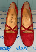 Palter Deliso by DeLiso Debs 70's Vintage Red Suede Front Cross Heels Size 6