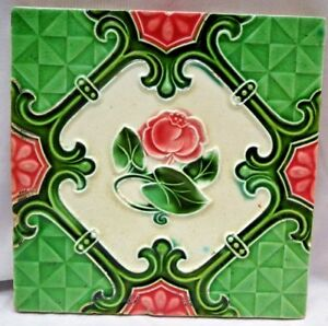 TILE MAJOLICA JAPAN VINTAGE ART NOUVEAU FLOWER ROSE PORCELAIN COLLECTIBLES # 264