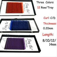 4 Sizes Curl Colors False Eyelash Extensions 12 Rows Frugal Makeup Eye Lashes LD