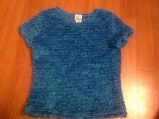 Girls Turquoise Blue sweater top girls sz L (12/14)