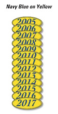 Car Dealer Windshield Oval Model Year Stickers, 4 Digit, Navy Blue /Yellow 05-17