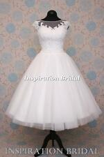 UK dress maker 1546 short 50s 60s wedding dresses tea length knee corded lace