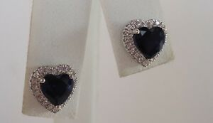 925 STERLING SILVER STUD EARRINGS W/ 2.50 CTS SAPPHIRE & DIAMONDS/TOP QUALITY
