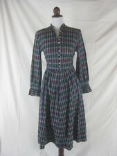 Vtg 40s 50s Hartford Womens Vintage Green Plaid Cotton Frock House Day Dress W27