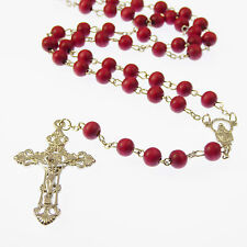 Red wooden rosary 6mm beads 49cm long wood unisex Catholic
