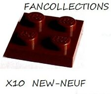 LEGO-X10  Reddish Brown Plate 2 x 2    3022  NEUF