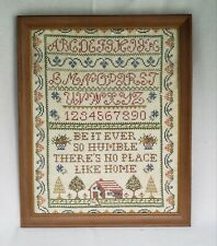"Vintage Cross Stitch Embroidery Framed Sampler No Place Like Home 18""x 22"""
