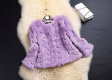 Women100% Real Rabbit Fur Fox Wave Jacket Coat Outwear Knitted Soft Feel