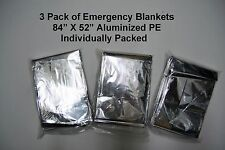 Three (3) Pk Mylar Emergency Survival Rescue Thermal Space Blanket Camping Gear