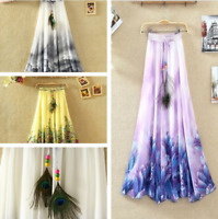 New Women Bohemian Long Skirt Chiffon Elegant Print Casual Skirt Plus Size Dress