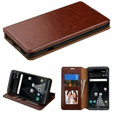 For LG V20 Brown Leather Fabric Case Cover w/stand w/card slot/Photo Display