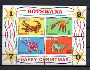 Botswana 1970 sheet wild animals/Giraffe/crocodile stamps (Michel Block 4) MNH