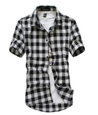 Men Fashion Casual Slim Fit Stylish Plaid Dress Shirts Short sleeve Shirt Summer