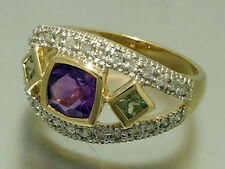 R214 Genuine 9ct Gold NATURAL Amethyst, Peridot,Diamond Suffragette Trilogy Ring