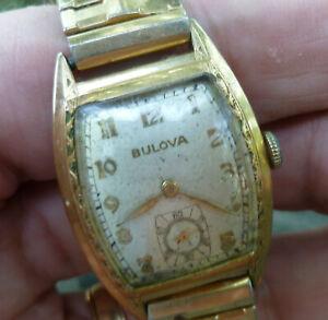 Vintage Mens Bulova 15j 10BC Watch for Repair