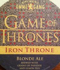 OMMEGANG Game of Thrones IRON THRONE BLONDE ALE RARE Beer Coaster 2013 Promo