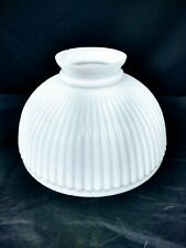 """Vintage Opaque White Glass Oil Lamp Shade Ribbed Aladdin Coleman Rayo 10"""""""