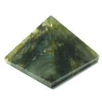 PYRAMID - LABRADORITE Crystal w/ Description Card & Pouch - Healing Reiki Stone
