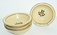 "Set of 4 PFALTZGRAFF VILLAGE 6""W Soup/Cereal Bowls, Brown Rim, Made in USA"