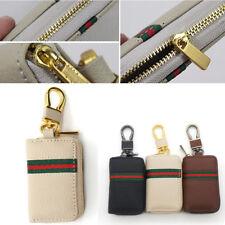 Unisex Beige Leather Key Case Car Remote Key Coin Pouch Metal Chain Zipper Bag