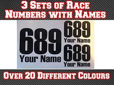 3 conjuntos de carrera números y nombre Motocross Pegatinas de vinilo Calcomanías Pista Bici de la suciedad T6