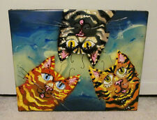 Artist Signed 2010 Psychedelic Modern Abstract Cat Trio Metal Painting Wall Art
