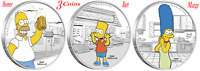 3-Coin Set 2019 The Simpsons - Homer Bart & Marge Simpson 1oz x3 $1 Silver