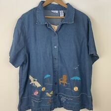 Womens Plus 3X Top Denim Embroidered Beach Short Sleeve Button Front Layer Look