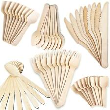 Disposable Wooden Cutlery x500 Pcs Eco Biodegradable Knives Forks Spoons