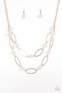 Paparazzi Necklace Shiny Copper White Pearl