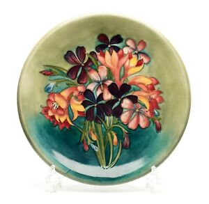 Moorcroft Spring Flowers Pattern Vintage Art Pottery Plate with Sea Green Ground