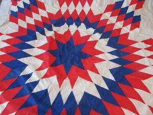 "vtg Lone Star Hand Pieced hand stitched Quilt Top  78"""