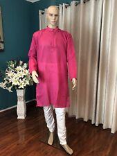 "44"" XL Sherwani Suit Indian Bollywood Mens Kurtha Pink Cotton Outfit Kurta KS11"