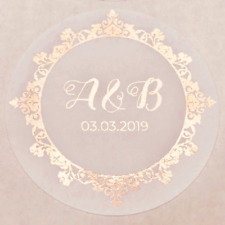 45x Personalised Foiled ROSE GOLD 25MM WHITE WEDDING ROUND LOGO LABEL STICKERS