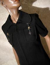 CHIC VINTAGE ROBE NOIRE JERSEY 1960 TRUE VTG DRESS 60s KLEID 60er ABITO ( 38 )