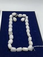 White Stone Necklace And Earrings