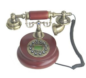 New Replica Vintage Telephone Machine -works- Wooden Landline Corded Phone Wired